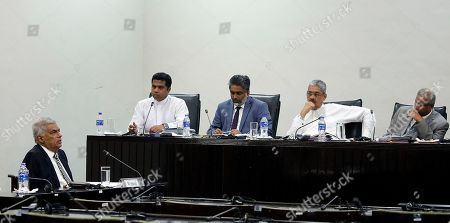 Ranil Wickremesinghe (L), Prime Minister of Sri Lanka testifies before the Parliamentary Select Committee (PSC) at the Sri Jayawardenapura parliamentary complex in Colombo, Sri Lanka, 06 August 2019. A Parliamentary Select Committee was appointed by Speaker Karu Jayasooriya to probe the security lapses that led to the Easter Sunday bomb attacks on 21 April 2019. Though prior information is said to have been available to Sri Lankan intelligence services and police through their Indian counterparts, they had not been taken seriously. With the huge public outcry over the government's inability to prevent such terror attacks which had come to a standstill since the end of the war in 2009, Parliament appointed a select committee represented by all parties in parliament to probe the lapses.