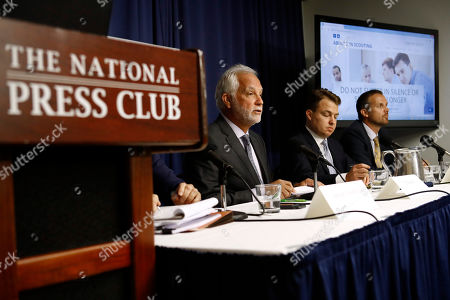 Stock Image of Tim Kosnoff, Josh Schwartz, Andrew Van Arsdale. Tim Kosnoff, center, an attorney with the legal team of Abused in Scouting, speaks at a news conference held to announce that the team has identified more than 300 alleged child sex abusers in the Boy Scouts of America, at the National Press Club in Washington. Sitting alongside Kosnoff are attornies Josh Schwartz, second from right, and Andrew Van Arsdale