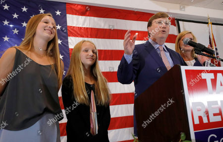 Tate Reeves, Emma Reeves, Tyler Reeves. Republican Lt. Gov. Tate Reeves, a gubernatorial candidate, at podium, flanked by daughters Tyler Reeves, 14, left, and Emma Reeves, 12, congratulates his supporters during an appearance at his election watch party in Flowood, Miss., . Reeves was in the lead of his party primary
