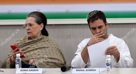United Progressive Alliance (UPA) chairperson Sonia Gandhi (L) and Indian National Congress (INC) Party member Rahul Gandhi (R) attend a Congress Working Committee (CWC) meeting at the party's headquarters in New Delhi, India, 06 August 2019. According media reports, Congress Working Committee (CWC) meeting was held after Indian Home Minister Amit Shah moved a resolution in the parliament that repeals Article 370, and said the state will be split into two Union Territories, Kashmir with an Assembly and Ladakh region without one.