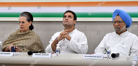 United Progressive Alliance (UPA) chairperson Sonia Gandhi (L), Indian National Congress (INC) Party member Rahul Gandhi (C), and former Indian Prime Minister Manmohan Singh (R) attend a Congress Working Committee (CWC) meeting at the party's headquarters in New Delhi, India, 06 August 2019. According media reports, Congress Working Committee (CWC) meeting was held after Indian Home Minister Amit Shah moved a resolution in the parliament that repeals Article 370, and said the state will be split into two Union Territories, Kashmir with an Assembly and Ladakh region without one.