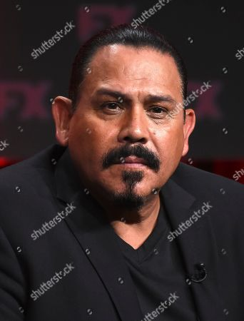 "Emilio Rivera, a cast member in the FX series ""Mayans M.C.,"" takes part in a panel discussion during the 2019 Television Critics Association Summer Press Tour, in Beverly Hills, Calif"