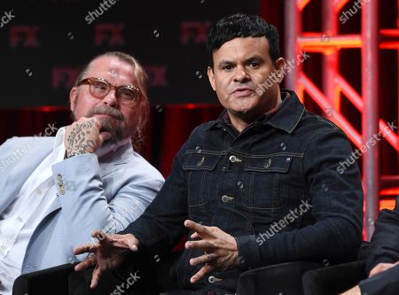 "Stock Photo of Elgin James, Kurt Sutter. Elgin James, right, and Kurt Sutter, the co-creators, executive producers and writers of the FX series ""Mayans M.C.,"" take part in a panel discussion during the 2019 Television Critics Association Summer Press Tour, in Beverly Hills, Calif"