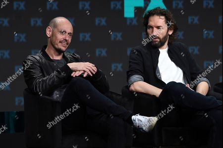 """Scott Ryan, Nash Edgerton. Scott Ryan, left, the creator/executive producer/writer/star of the FX series """"Mr. Inbetween,"""" takes part in a panel discussion with executive producer/director Nash Edgerton during the 2019 Television Critics Association Summer Press Tour, in Beverly Hills, Calif"""