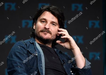 "Justin Rosniak, a cast member in the FX series ""Mr. Inbetween,"" takes part in a panel discussion during the 2019 Television Critics Association Summer Press Tour, in Beverly Hills, Calif"