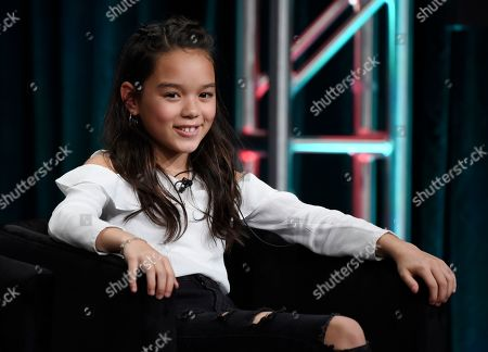 "Chika Yasumura, a cast member in the FX series ""Mr. Inbetween,"" takes part in a panel discussion during the 2019 Television Critics Association Summer Press Tour, in Beverly Hills, Calif"