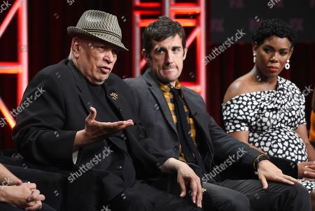 "Walter Mosley, Carter Hudson, Angela Lewis. Walter Mosley, left, consulting producer/writer on the FX series ""Snowfall,"" answers a question as cast members Carter Hudson, center, and Angela Lewis look on during a panel discussion during the 2019 Television Critics Association Summer Press Tour, in Beverly Hills, Calif"
