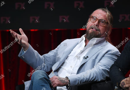 "Kurt Sutter, the co-creator/executive producer/writer of the FX series ""Mayans M.C.,"" answers a question during the 2019 Television Critics Association Summer Press Tour, in Beverly Hills, Calif"