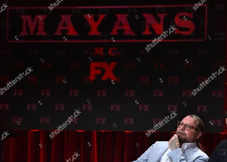 "Kurt Sutter, the co-creator/executive producer/writer of the FX series ""Mayans M.C.,"" answers a question onstage during the 2019 Television Critics Association Summer Press Tour, in Beverly Hills, Calif"