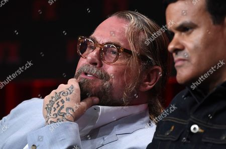 "Kurt Sutter, Elgin James. Kurt Sutter, left, and Elgin James, the co-creators, executive producers and writers of the FX series ""Mayans M.C.,"" take part in a panel discussion on the show during the 2019 Television Critics Association Summer Press Tour, in Beverly Hills, Calif"