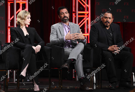"Sarah Bolger, Danny Pino, Emilio Rivera. Sarah Bolger, from left, Danny Pino and Emilio Rivera, cast members in the FX series ""Mayans M.C.,"" take part in a panel discussion during the 2019 Television Critics Association Summer Press Tour, in Beverly Hills, Calif"