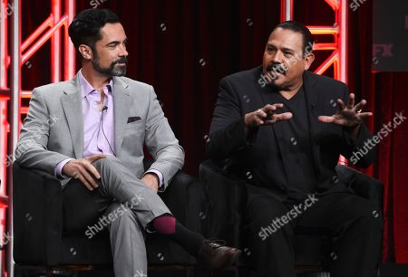 "Emilio Rivera, Danny Pino. Emilio Rivera, right, a cast member in the FX series ""Mayans M.C.,"" answers a question as fellow cast member Danny Pino looks on during the 2019 Television Critics Association Summer Press Tour, in Beverly Hills, Calif"