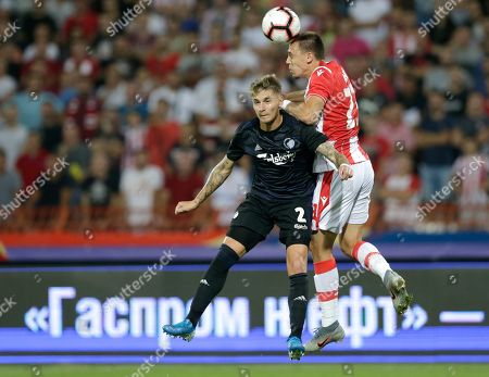Red Star?s Milan Rodic (R) in action against Copenhagen?s Guillermo Varela (L) during the UEFA Champions League third qualifying round first leg soccer match between Red Star Belgrade and FC Copenhagen in Belgrade, Serbia, 06 August 2019.