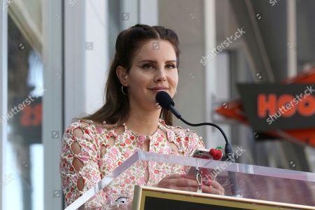 Lana Del Rey speaks during a ceremony honoring Guillermo del Toro with a star at the Hollywood Walk of Fame, in Los Angeles