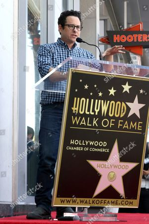 J.J. Abrams speaks during a ceremony honoring Guillermo del Toro with a star at the Hollywood Walk of Fame, in Los Angeles