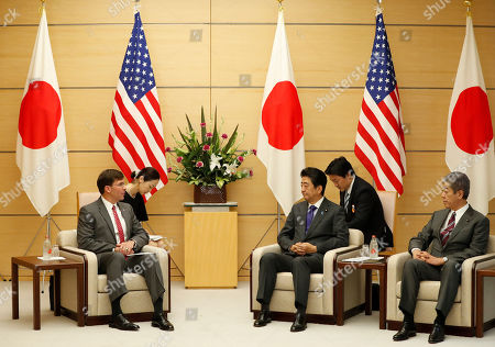 US Secretary of Defence Mark Esper (L) meets with Japanese Prime Minister Shinzo Abe (3-R) and Defense Minister Takeshi Iwaya (R) at Abe's official residence in Tokyo, Japan, 07 August 2019.