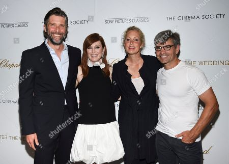 """Bart Freundlich, Julianne Moore, Ali Wentworth, George Stephanopoulos. Director Bart Freundlich, left, actor Julianne Moore, actor Ali Wentworth and journalist George Stephanopoulos pose together at a special screening of """"After the Wedding,"""" hosted by Chopard with Sony Pictures Classics and The Cinema Society, at the Regal Essex, in New York"""