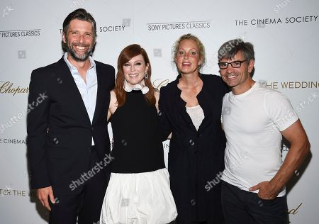 """Bart Freundlich, Julianne Moore, Ali Wentworth, George Stephanopoulos. Director Bart Freundlich, left, actor Julianne Moore, actor Ali Wentworth and journalist George Stephanopoulos pose together at a special screening of """"After the Wedding"""", hosted by Chopard with Sony Pictures Classics and The Cinema Society, at the Regal Essex, in New York"""