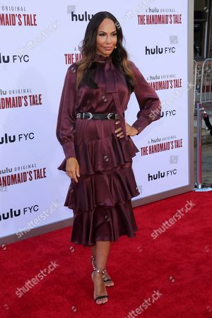 "Amanda Brugel arrives at the ""The Handmaid's Tale"" season three finale red carpet at the Regency Village Theatre], in Los Angeles"