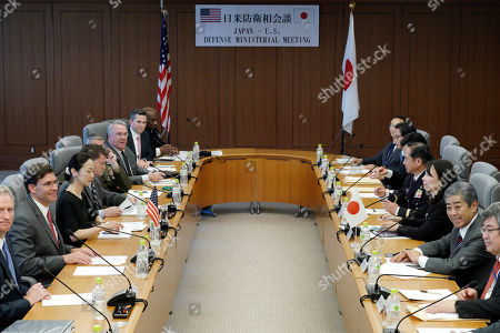 US Secretary of Defense Mark Esper (2-L) and Japanese Defense Minister Takeshi Iwaya (2-R) attend their meeting at the Ministry of Defense in Tokyo, Japan, 07 August 2019.