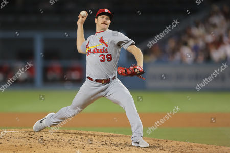 St. Louis Cardinals starting pitcher Miles Mikolas (39) makes the start for the Cardinals during the game between the St. Louis Cardinals and the Los Angeles Dodgers at Dodger Stadium in Los Angeles, CA. (Photo by Peter Joneleit)