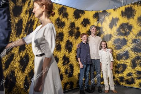 Stock Picture of Actor Ettore Giustiniani, actor Milo Roussel and actress Oro de Commarque, behind from L, and actress Alba Rohrwacher (L) from Italy pose during the photocall for the film Magari at the 72nd Locarno International Film Festival in Locarno, Switzerland, 07 August 2019. The Festival del film Locarno runs from 07 to 17 August 2019.