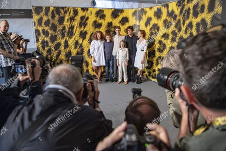 Ginevra Elkann, actor Ettore Giustiniani, actor Milo Roussel, actress Oro de Commarque, actor Ricardo Scamarico and actress Alba Rohrwacher, from Italy pose during the photocall for the film Magari at the 72nd Locarno International Film Festival in Locarno, Switzerland, 07 August 2019. The Festival del film Locarno runs from 07 to 17 August 2019.