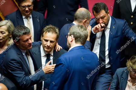 Agricultural policy minister Gian Marco Centinaio, Senator of Lega Armando Siri, Minister of the Interior and Deputy Prime Minister, Matteo Salvini in the Senate during the vote of confidence on the Security Bis decree
