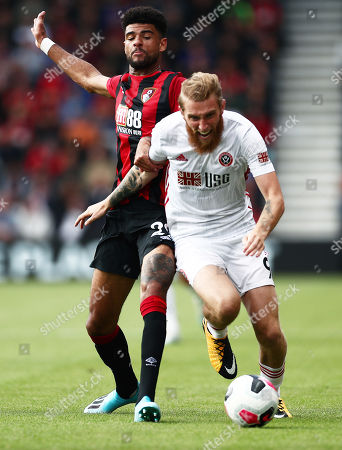 Philip Billing of Bournemouth and Oliver McBurnie of Sheffield United.