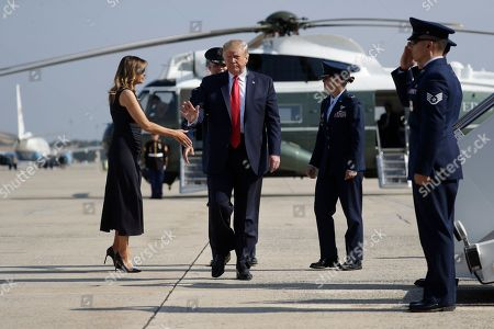 US President Donald Trump departs Dayton Andrews Fotos de