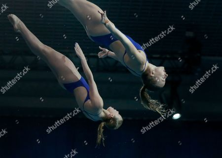 Phoebe Banks, Emily Martin. Britain's Phoebe Banks and Emily Martin compete on their way to win the silver medal in the 10-meter synchro platform final at the European Diving Championship in Kiev, Ukraine