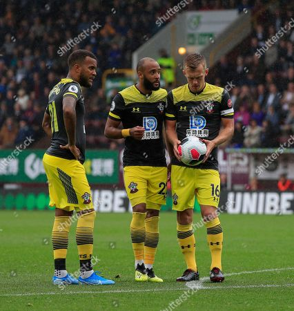 10th August 2019, Turf Moor, Burnley, England ; Premier League Football, Burnley vs Southampton : Ryan Bertrand (21) Nathan Redmond (22) and James Ward-Prowse (16) of Southampton debate tactics for a close range free kick Credit: Conor Molloy/News Images  English Football League images are subject to DataCo Licence
