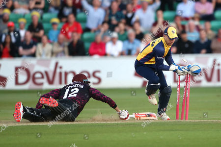 Adam Wheater of Essex narrowly fails to run out Craig Overton during Essex Eagles vs Somerset, Vitality Blast T20 Cricket at The Cloudfm County Ground on 7th August 2019