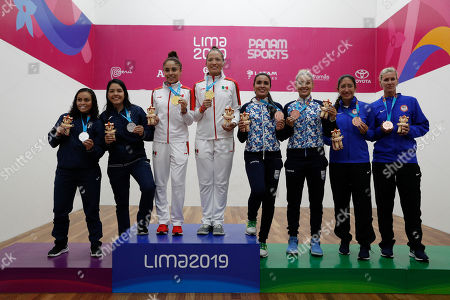 From left, silver medalists Maria Rodriguez and Gabriela Martinez of Guatemala, gold medalists Paola Longoria and Samantha Salas of Mexico, and bronze medalists Maria Vargas and Natalia Mendez of Argentina and Kelani Lawrence and Rhonda Rajsich of the United States pose with their medals for women's team racquetball at the Pan American Games in Lima, Peru