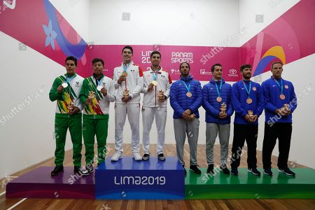 From left, silver medalists Roland Keller and Conrrado Moscoso of Bolivia, gold medalists Javier Mar and Ricardo Montoya of Mexico, and bronze medalists Felipe Camacho and Andres Acuna of Costa Rica and Charles Pratt and R.O. Carson III of the U.S. pose with their medals for men's team racquetball at the Pan American Games in Lima, Peru