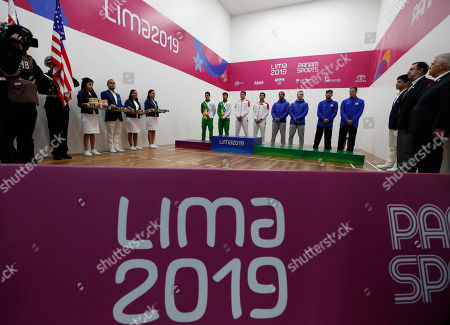 From left, silver medalists Roland Keller and Conrrado Moscoso of Bolivia, gold medalists Javier Mar and Ricardo Montoya of Mexico, and bronze medalists Felipe Camacho and Andres Acuna of Costa Rica and Charles Pratt and R.O. Carson III of the U.S. arrive at the podium to receive their medals for men's team racquetball at the Pan American Games in Lima, Peru