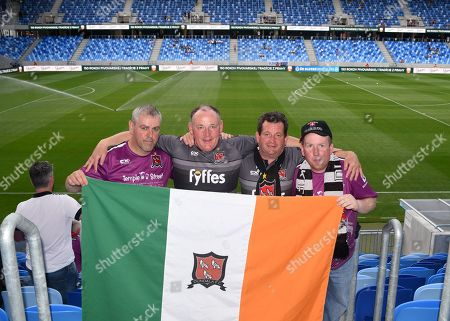 Slovan Bratislava vs Dundalk. Dundalk fans Robbie Allen, Donal Sweeney, Gerry Mulligan and David Caldwell before the game