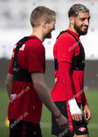 Spartak players Andre Schuerrle (L) and Samuel Gigot (R) attend their team's training session in Thun, Switzerland, 07 August 2019. Spartak Moscow will face FC Thun in their UEFA Europa League qualifying third round, first leg soccer match on 08 August 2019.