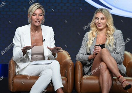 "Charissa Thompson, Charlotte Flair. Charissa Thompson, left, and Charlotte Flair participate in Fox Sports' ""Rallying Fans for the Biggest Season in Sports"" panel at the Television Critics Association Summer Press Tour, in Beverly Hills, Calif"
