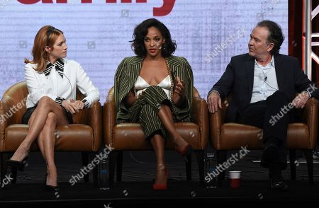 "Brittany Snow, Megalyn Echikunwoke, Timothy Hutton. Brittany Snow, from left, Megalyn Echikunwoke and Timothy Hutton participate in Fox's ""Almost Family"" panel at the Television Critics Association Summer Press Tour, in Beverly Hills, Calif"