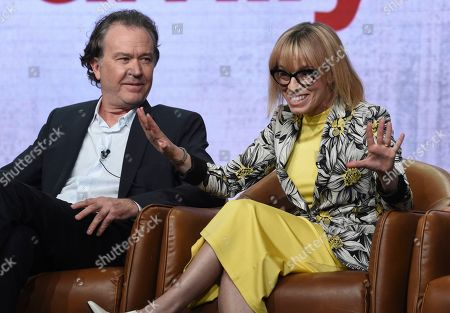 "Timothy Hutton, Annie Weisman. Timothy Hutton, left, and executive producer/writer Annie Weisman participate in Fox's ""Almost Family"" panel at the Television Critics Association Summer Press Tour, in Beverly Hills, Calif"