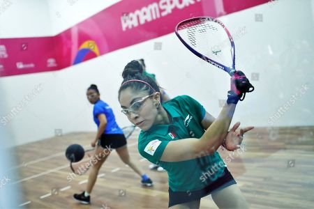 Paola Longoria and Samantha Salas of Mexico (R, green) in action against Maria Rodriguez and Gabriela Martínez of Guatemala (L, blue) during the Women's Raquetball Doubles Final at the Lima 2019 Pan American Games, in Lima, Peru, 07 August 2019.