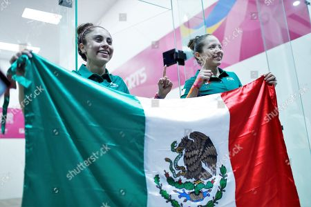 Paola Longoria (L) and Samantha Salas (R) of Mexico celebrate their victory against Maria Rodriguez and Gabriela Martinez of Guatemala during the Women's Raquetball Doubles Final at the Lima 2019 Pan American Games, in Lima, Peru, 07 August 2019.