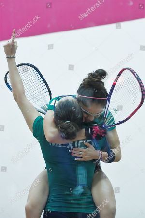 Paola Longoria and Samantha Salas of Mexico celebrate their victory against Maria Rodriguez and Gabriela Martinez of Guatemala during the Women's Raquetball Doubles Final at the Lima 2019 Pan American Games, in Lima, Peru, 07 August 2019.