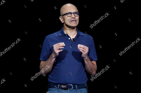 Satya Nadella, the CEO of Microsoft, speaks during the Samsung Unpacked event at the Barclays Center in Brooklyn, New York, USA, 07 August 2019.