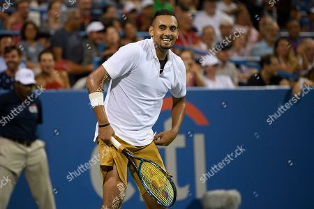 Kevin Anderson, Alexander Zverev. Nick Kyrgios, of Australia, reacts during a match against Norbert Gombos, of Slovakia, in the Citi Open tennis tournament, in Washington