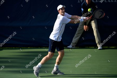 Kevin Anderson, Alexander Zverev. Andy Murray reaches for the ball as he and Jamie Murray, both of Britain, played a doubles match against Raven Klaasen, of South Africa, and Michael Venus, of New Zealand, in the Citi Open tennis tournament, in Washington
