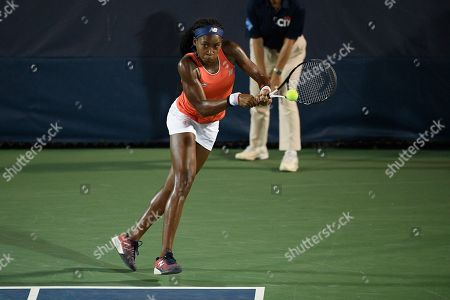 "Kevin Anderson, Alexander Zverev. Cori ""Coco"" Gauff returns the ball as she and Catherine McNally played a doubles match against Anna Kalinskaya, of Russia, and Miyu Kato, of Japan, in the Citi Open tennis tournament, in Washington"
