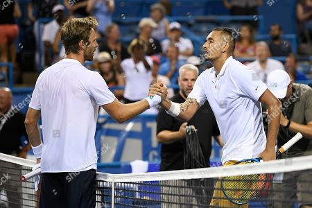 Kevin Anderson, Alexander Zverev. Nick Kyrgios, of Australia, right, shakes hands with Norbert Gombos, left, of Slovakia, after a match in the Citi Open tennis tournament, in Washington