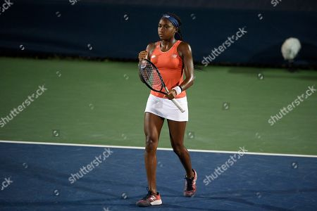"Stock Image of Kevin Anderson, Alexander Zverev. Cori ""Coco"" Gauff stands on the court as she and Catherine McNally played a doubles match against Anna Kalinskaya, of Russia, and Miyu Kato, of Japan, in the Citi Open tennis tournament, in Washington"